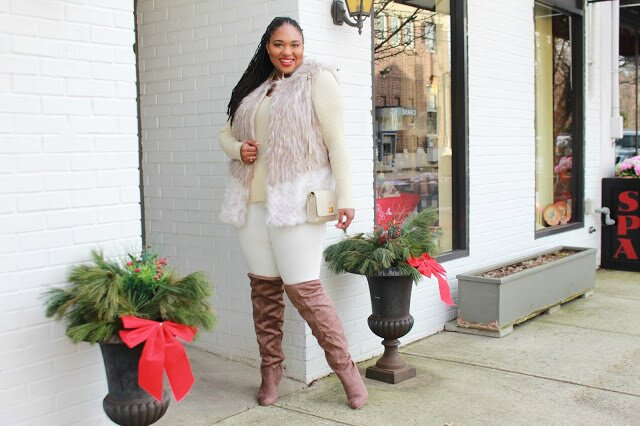 ashley stewart faux fur vest, ashley stewart sweater, ashley stewart jeggings, fashion to figure boots